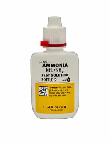 Rishon Le Zion, Israel-December 9, 2014: Plastic bottle of Ammonia NH3/NH4 Test Solution Bottle 1 37ml. Produced by Aquarium Pharmaceuticals Inc. (API), USA