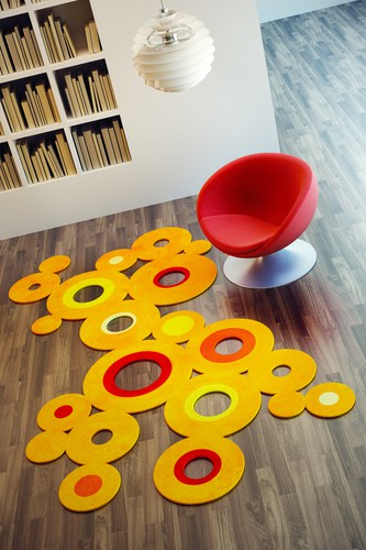 Pop art style rugs and round rugs are perfect for reading nooks and lounge rooms
