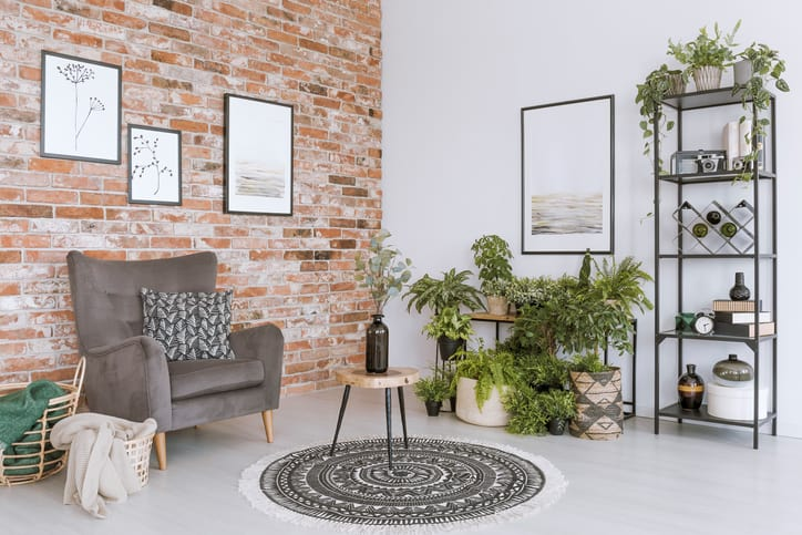 Relax room with grey armchair
