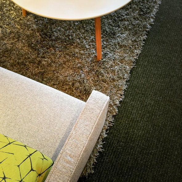 Armchair and coffee table and rug