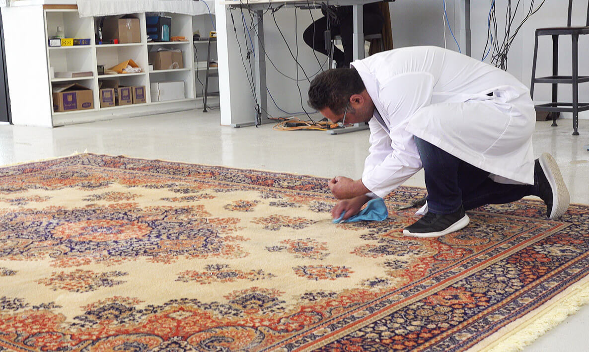 How do you remove stains from rugs?